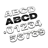 N\A Pegatinas de Coche, Alfabeto de Metal 3D Placa Placa cromada de Plata números Logo Pegatinas de automóviles automóviles Accesorios de Coche Pegatinas decoración Kit de Envoltura de automóviles