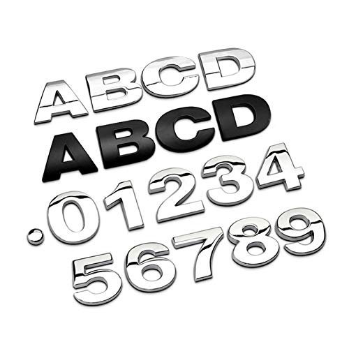N\A Pegatina de metal 3D con letras y números de letras cromadas plateadas, para coche, accesorios de coche, pegatinas de decoración para coche (nombre de color: negro, estilo: R)