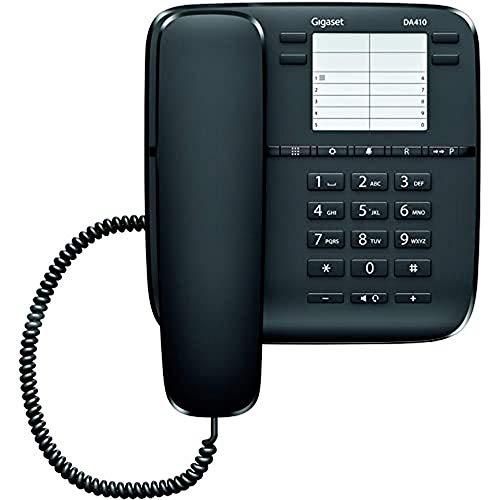 Gigaset DA410 - Teléfono Fijo de Sobremesa con Manos Libres y Marcaciones Directas, Color Negro