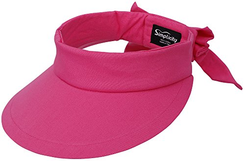 Simplicity Women's SPF 50+ UV Protection Wide Brim Beach Sun Visor Hat,Fushsia