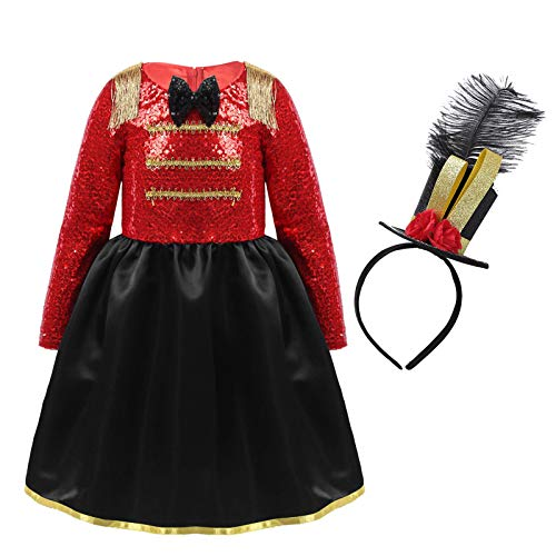 Freebily Vestido Manga Larga Lentejuelas Disfraz de Circo para Nia Vestido Traje de Fiesta Carnaval Navidad Actuacin Rojo 11-12 aos