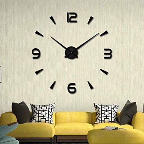 Reloj de Pared Moderno y Elegante, Reloj sin Marco, Grande, 3D, Reloj de Pared DIY, Pegatinas de Espejo silencioso, decoración de la Escuela de Hielo para el hogar (Color: Negro) (Color: Plata)