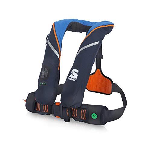 Automatische reddingsvest Secumar Survival 220 Harness donkerblauw/lichtblauw/oranje