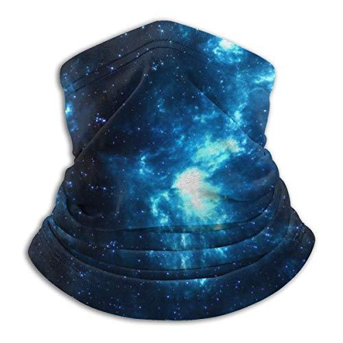 NA Space Galaxy Shine Stars Blue Dark Headwear Neck Gaiter Warmer Winter Ski Tube Scarf Mask Fleece Face Cover Windproof