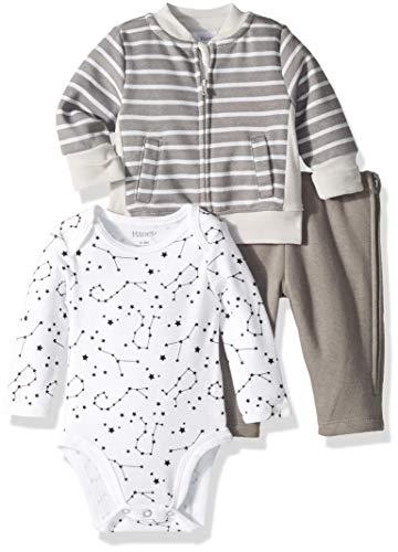 Hanes baby boys Ultimate Zippin Fleece Zip Pant With Bodysuit and Fleece Jacket Layette Set, Dark Grey Stripe, 6-12 Months US