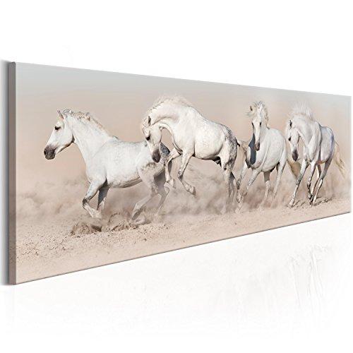 murando Cuadro en Lienzo 135x45 cm - Caballos 1 Parte Impresión en Material Tejido...