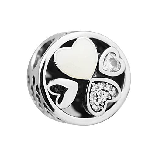 LISHOU DIY 925 Corazones De Amor De Plata Esterlina Calado Clear Crystal Lucky Sign Charm Beads Fit Pandora Pulsera Collar para Mujeres Joyería Que Hace Regalo