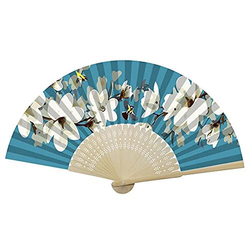 Abanicos plegables, abanicos de mano, abanicos de bambú con borla para mujer, abanicos de mano de bambú ahuecados para mujeres, bodas, fiestas, decoración de pared, regalos (pájaro de flores blancas)