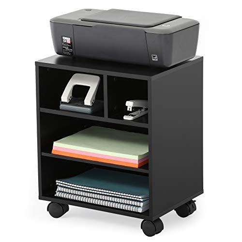 FITUEYES Soporte para Impresora con Ruedas 4 Compartimientos Madera Negro Carrito Organizador para Oficina Casa 40x30x48.5cm PS404001WB