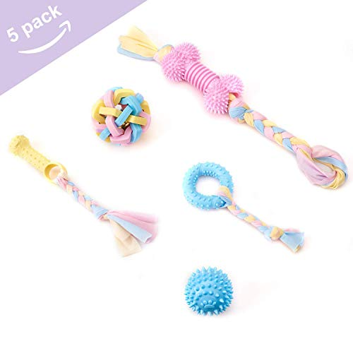 Dog Chew Toys for Puppies Teeth Cleaning, Cute Rope Tug Toys for Small Breed, Puppy, Safety Pet Teething Chew Toys with Natural Cotton and Rubber for Small Medium Dogs 5 Pack of Ball Chew Ring