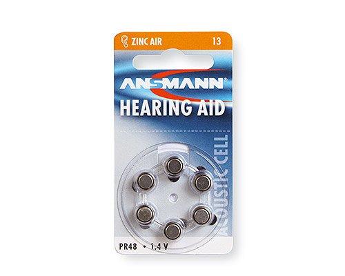 ANSMANN Hörgerätebatterien 13 orange Testsieger 6 Stück - Zink Luft Hörgeräte Batterien Typ 13 P13 ZL2 PR48 mit 1,4V - Knopfzelle mit besonders langer Laufzeit für Hörgerät & Hörverstärker