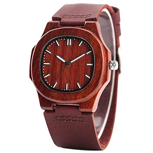 JKFAYLFA Armbanduhr Holz Uhr natürliches Licht Holz Gesicht Fashion Echtes Leder Armreif Unisex Geschenke für Männer Frauen, 4