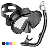 Adult Snorkel Set for Women and Men with Adjustable Dual Strap - Enjoy Swimming, Snorkeling & Scuba Diving with Anti-Fog Tempered Glass Mask & No Leaks Dry Top Snorkel & Silicone Mouth Piece