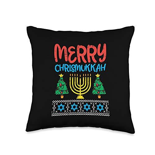 BoredKoalas Hanukkah Pillows Jew Chanukah Gifts Merry Christmukkah Ugly Jewish Xmas Christmas Hanukkah Gift Throw Pillow, 16x16, Multicolor