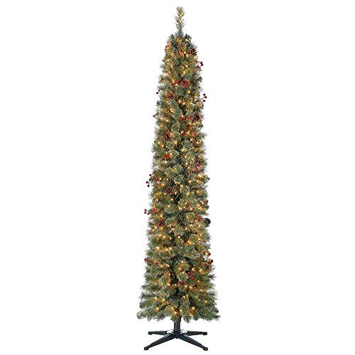 Home Heritage Stanley 7 Ft Skinny Slim Pencil Artificial Pine Pre-Lit and Decorated Christmas Tree with White Lights