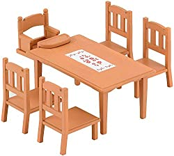 Basic furniture for your Sylvanian family home One table and four chairs set comes with a detachable baby seat Suitable item for dining room Stimulating imaginative role-play in children Suitable for ages 3 years to 10 years