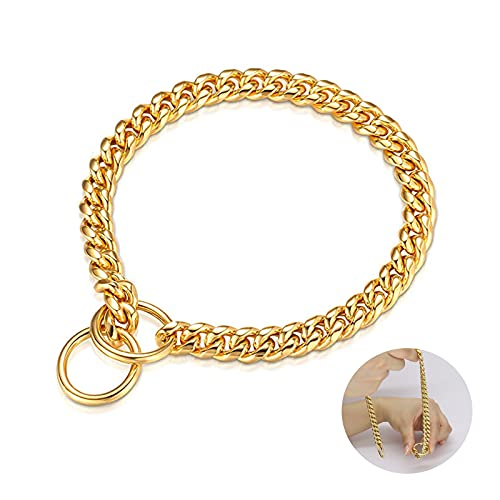 Collar Cadena de Perros de Oro, 10 mm Collares de Acero Inoxidable Ajustable al Aire Libre Entrenamiento, Correr y Camina (L-22)