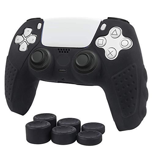 CHIN FAI für Sony PS5 Dualsense Controller Skin Case, rutschfeste Silikonhülle Schutzhülle für Sony Playstation 5 PS5 Controller Gamepad Game Zubehör mit 6 - Schwarz
