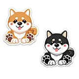 Shiba Inu Kawaii Stickers Weatherproof Ideal for Cars, Motorcycle, Bike, Laptop, Diary, Gift Box, notebooks, scrapbooks, etc. (Shiba Inu Red & Black Tan 1 Each)