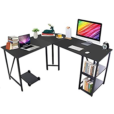 "Bizzoelife 59""x55"" Large L Shaped Corner Table Computer Desk, Home Office PC Laptop Gaming Desks with CPU Stand and Storage Shelf, Wood & Steel Writing Study Workstation for Space-Saving"