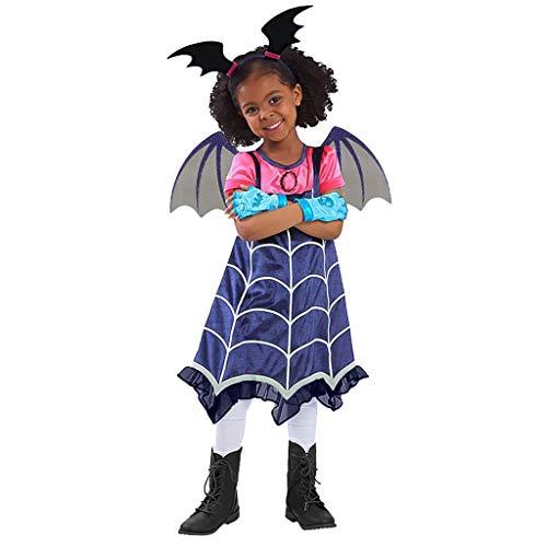 JERFER Halloween Kinder Mädchen Cosplay Tanzen Kostüm Kleid Kleidung + Stirnband einstellen Outfit