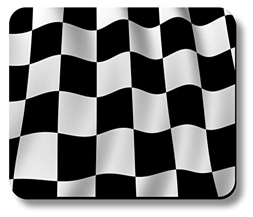 Computer Mouse Pad Art Print Checkered Flag Design Pattern Non-Slip 9.25 x 7.75 x 1/8 Thick