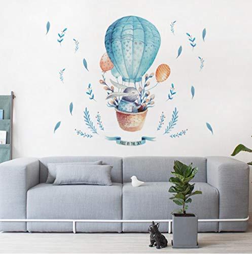 Pegatinas De Pared Pegatinas Wallpaper Dibujos Animados Animal Conejo Globo Aerostático Niños Bebé Decoración De La Habitación