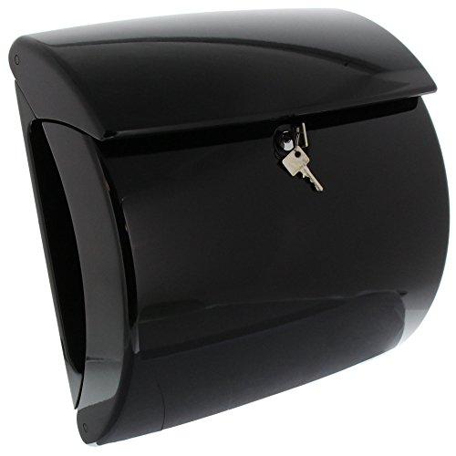 BURG-WÄCHTER, Briefkasten mit integriertem Zeitungsfach in Klavierlack-Optik, A4 Einwurf-Format, EU Norm EN 13724, Hochwertiger Kunststoff, Piano 886 S, Schwarz