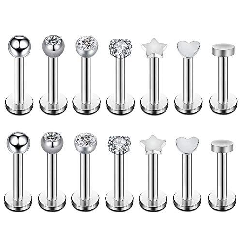 Changgaijewelry 7 Pares de Pendientes de Acero quirúrgico 16 g con Rosca Interior Micro CZ para Tragus/Helix/Labret de 3 mm