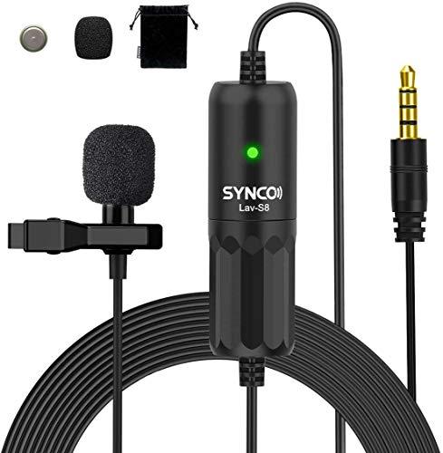 SYNCO S8 8 Metros Lavalier-Microfono-Solapa-Corbata-Condensador Omnidireccional, Clip Microphone Compatible para DSLR Cámaras Reflex, Móviles, Computador Portátil, PC