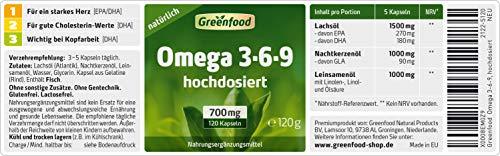 Greenfood Omega 3-6-9, 700mg, extra hochdosiert, 120 Kapseln - 2