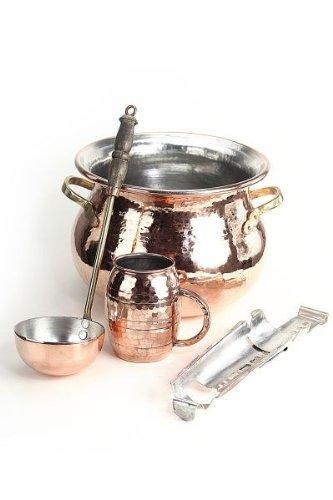 CopperGarden® SET ❀ Feuerzangenbowle aus Kupfer ❀ verzinnt ❀ Kessel, Feuerzange, Kelle, Tasse & Zuckerhut