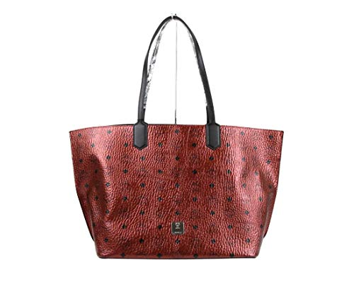 MCM Women's Scooter Red Metallic Coated Canvas Medium Shopper Tote MWP9AFO04RR001