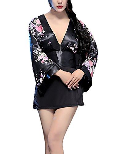 Lenceria Erotica De Mujer Kimono Japones Disfraz Cosplay Manga Larga V Cuello Vintage Estampado Flores Vintage Yukata Pijama Camisones
