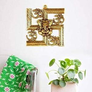 Swara Red Dragon Metal Swastik Ganesh / Swastik Om Ganesh / Religious Idol / Wall Hanging Ganesha / Home Decor Showpiece / Wall Sculpture / Home / Office / Café Décor / Home Accent / Room Décor