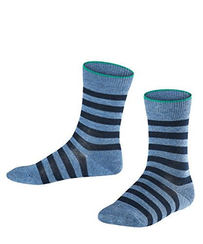 FALKE Kinder Socken Double Stripe - 81% Baumwolle, 1 Paar, Blau (Light Denim 6660), Größe: 35-38