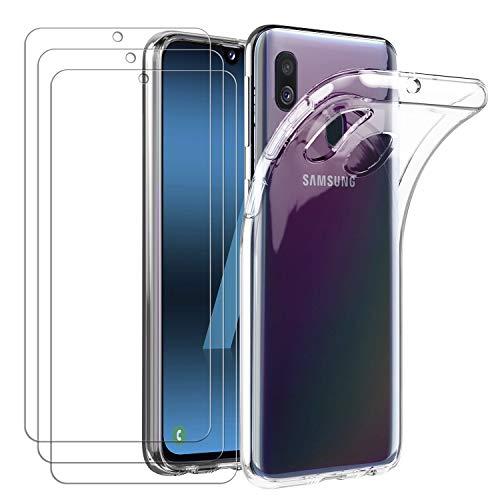 iVoler Custodia Cover per Samsung Galaxy A40 con 3 Pezzi Pellicola Vetro Temperato, Ultra Sottile Morbido TPU Trasparente Silicone Antiurto Protettiva Case