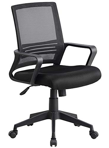 Office Chairs, Ergonomic Office Chair, Mesh Computer Chair Lumbar Support Modern Executive Adjustable Stool Rolling Swivel Chair for Lower Back Pain (Black)