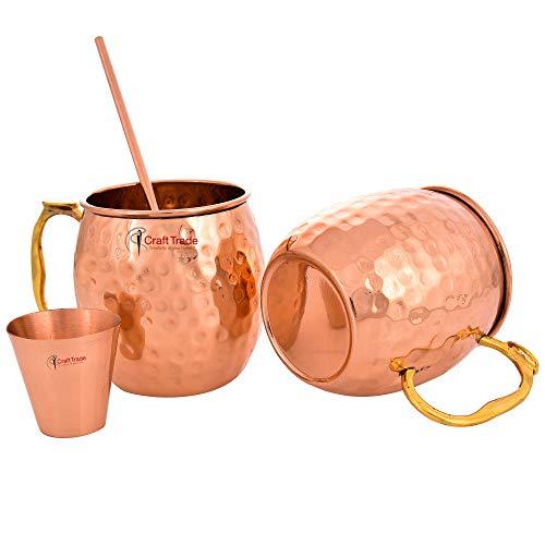 Craft Trade Moscow Mule Bierkrug Becher aus gehämmertem Kupfer, Best für Partys, Barware-Combo mit Glas -530 ml je 2 Stück