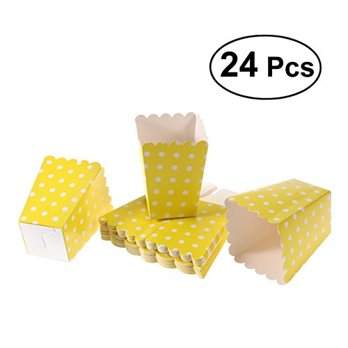 NUOLUX 24pcs Popcorn Boxes Dot Design Snack Paper Bags for Movie Theater Dessert Tables Wedding Favors (Yellow)