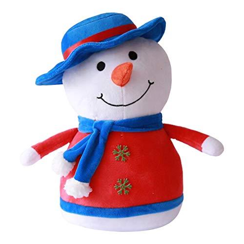 Amosfun Pupazzo di Neve di Natale Bambola Biancheria da Letto per Bambini Morbido Peluche Coccole di Natale Coccole Cuscino scaldamani Cuscino