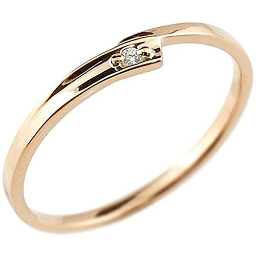 [アトラス] Atrus リング ピンキーリング ピンクゴールド 10金 指輪 スパイラル エッジ ダイヤモンド ダイヤ 極細 リング 華奢 ファッションリング 15号