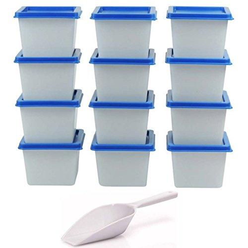 mikken 12 kleine, Made in Germany BPA frei, inkl. Schaufel Gefrierdosen Tiefkühldosen 100 ml, Kunststoff, Weis Blau, 6,5 cm