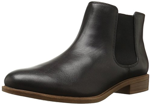 Clarks Women's Taylor Shine Chelsea Boot, Black Leather, 10 M US