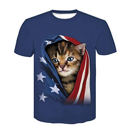 Frühling und Sommer Neue Herrenmode lässig 3D Paar Katze Shirt Digitaldruck Kurzarm T-Shirt