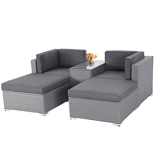 SOLAURA 5-Piece Outdoor Patio Furniture Set, PE Rattan Wicker Chair Sectional Sofa Set with YKK Zipper and Glass Coffee Table-Gray