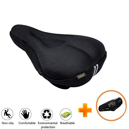 Ancocs Bicycle Seat Cushion Cover-Soft Extra Silica Gel and Foam Bike Saddle Cushion, Spinning With Waterproof & Dustproof Cover For Mens & Womens