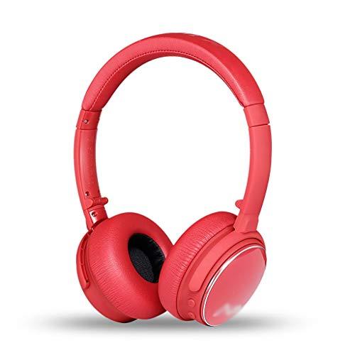 WCN Cascos Auriculares Inalámbricos Bluetooth Over-Oree CVC 6.0 Cancelación de Ruido Cómodo Proteína Earpads 24 Horas Playtime Plegable Auriculares (Color : Red)