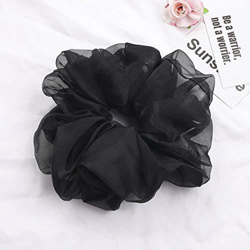 WDNMD Mode Solide Couleur des Cheveux Chouchous Femmes Coiffe Holder Cordes Cheveux Ponytail Bandeaux élastiques Accessoires Cheveux,Noir