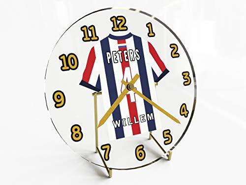 MyShirt123 Wanduhr, Motiv: Holland-Fußballtrikot, personalisierbar !, Herren, Willem II Tilburg